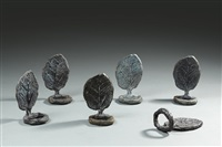 12 leaf-shaped napkin rings by diego giacometti