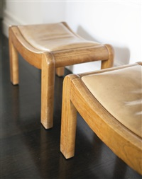 curule en m low stools, model sn1 (pair) by pierre chareau