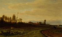 woman with cow on a road at the falling of dusk in a polderscape by adrianus van everdingen