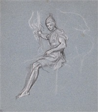 study for a figure seated on a horse by lord leighton
