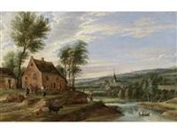 a village scene with river landscape by flemish school (18)