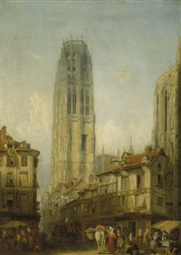 tour de beurre, rouen cathedral (from the place de la calendre) by henry c. gritten