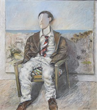 seated figure in a landscape by ross ritchie