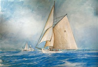 moonbeam iii, cotre aurique, en régate by rene glorion