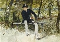 homme assis sur un banc et etude de barque (recto-verso) by ferdinand heilbuth