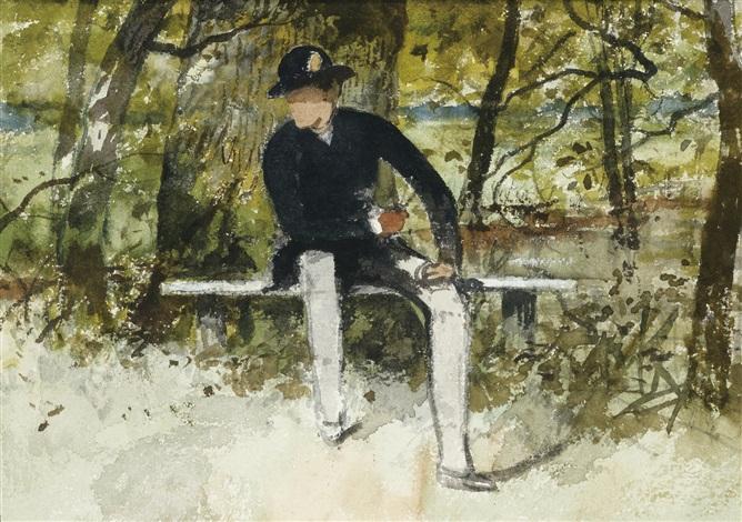 homme assis sur un banc et etude de barque recto verso by ferdinand heilbuth