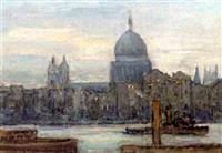 st. paul's from the river thames with one steam boat by alfred john billinghurst
