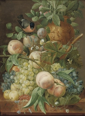 grapes peaches berries and other fruit by jean françois eliaerts