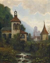 landschaft in südtirol mit burg und kirche by conrad blecher