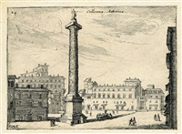 colonna antonina - dictio al palazo di madama pl. 24 and 25 (2 works from alcune verdute et prospettive,... di roma) by giovanni battista mercati