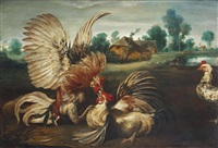 two cockerels fighting in a landscape, a farmhouse beyond by frans snijders