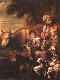 a cowherd with his two sons and livestock by arcangelo resani