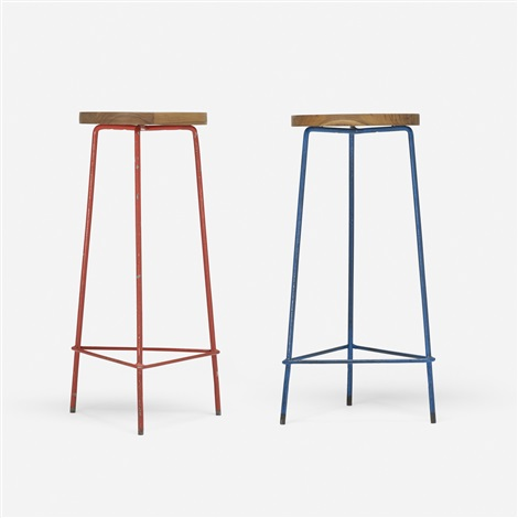 pair of stools from the college of architecture chandigarh pair by pierre jeanneret