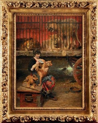 dompteuse nourrissant les lionceaux devant la cage aux fauves by paul friedrich meyerheim