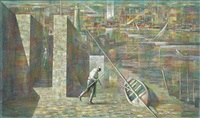 untitled (fisherman and boat at dock) by raymond howell