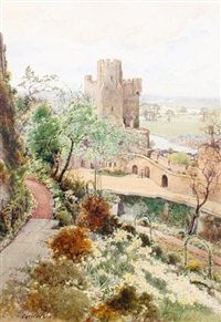 winchester tower from king james's herbere, norman tower garden by cyril ward