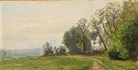 a landscape in early summer with a view towards a farm and grazing sheeps by christian peder mørch zacho