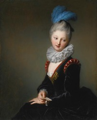 portrait of a young lady with a letter, thought to be mademoiselle christine-antoinette-charlotte desmares by jean-baptiste santerre