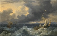 fishing boats in choppy seas by hendrik rietschoof