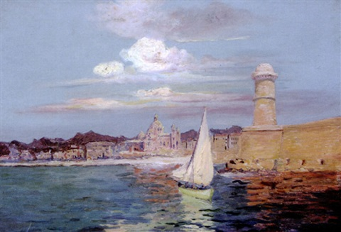 le port de marseille la tour saint jean by francois maurice reynaud