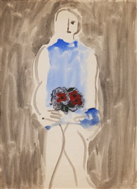feminine figure with flowers by júlio reis pereira