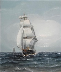 a steam sailing battleship heading downwind by charles keith miller