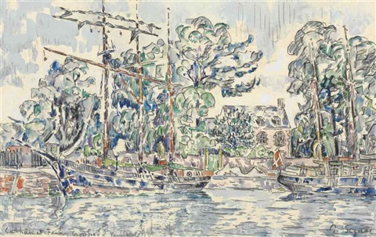 paimpol, le fanny crossfield et le cathrin à quai by paul signac