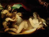 venus with her hand maidens, satyr peeping in by william hilton the younger