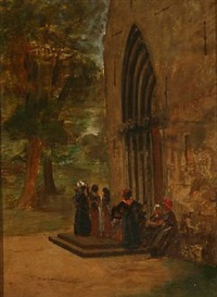 people in front of a church, presumably on the friesian island of föhr by david jacobsen