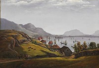 norwegian fjord with traffic at sea, presumably off frederikshald (halden) by ferdinand gjos