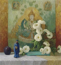 still life with zinnias and figurine by frederic m. grant