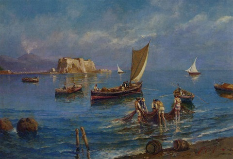 fishing in the shadow of vesuvius by giovanni scognamiglio