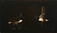 two lapwings by johan thomas lundbye