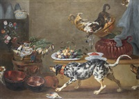 various flowers in vases, figs and strawberries in kraak porcelain bowls, with copperware, dead game, two cats fighting and three dogs in the foreground by paul de vos
