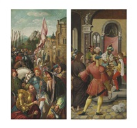the wing of an altarpiece: the meeting of abraham and melchizedek (verso) and christ before pilate (recto) by master of the antwerp adoration