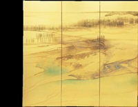 water, six panel screen by toshio tabuchi