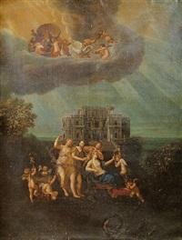 la toilette de vénus devant la façade d'un palais imaginaire by jean cotelle the younger