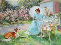 summer idyll with a young woman and a dog by aleksandr averin