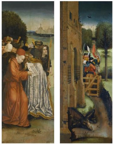 two wings of an altarpiece a crowd of onlookers before a fantastical city an army taking leave of a castle pair by hieronymus bosch