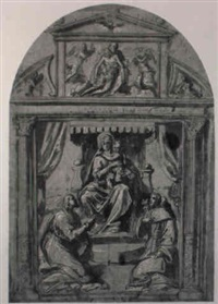 a design for an altarpiece: the enthroned madonna and child... by avanzino nucci