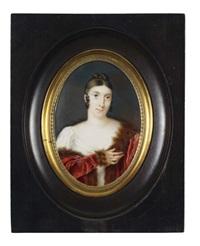 portrait de femme en robe de soie et manteau de velours rouge bordé de zibeline by pierre louis bouvier