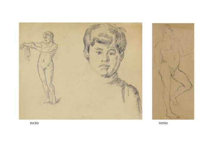 baigneuse et garçon etude dhomme verso by paul cézanne