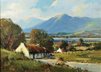 irish cottages at russapena, county donegal by henry mclaughlin