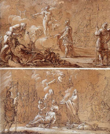 venus appearing to aeneas as he lands on the site of rome by antoine rivalz