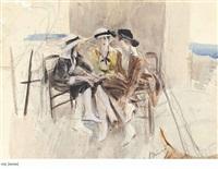 three women in conversation on a terrace (recto); figure studies (verso) by giovanni boldini