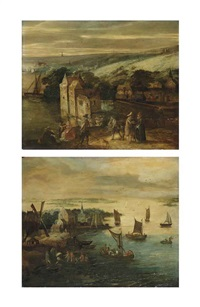 a river landscape with elegant figures near a castle (+ an extensive river landscape with figures in sailing vessels near a village; pair) by philips de momper the elder