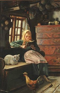 sunday afternoon in a fisher family's house. a young girl reading by michael peter ancher