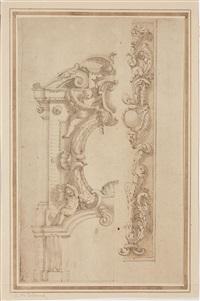 studi per bordure decorative con putti; studi per decorazione di soffitti (double-sided) by angelo michele colonna