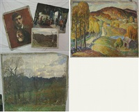 landscape with plow (+ 4 others; 5 works) by harold c. dunbar