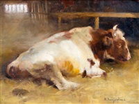 resting young bull by helene sofia schjerfbeck